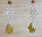 Pendiente Pendientes Alpaca Plata Amarillo Cristal Perlas indio Inka Maya 35