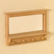 Pine Hall Mirror With Hooks Dolls House Miniature Wall Mirror