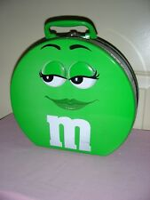 M&M Tin - Green, Round Storage Container - 9-1/4 inches, previously used