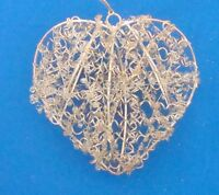 """Christmas ornament gold twisted wire and glass beads heart 4"""" tall"""