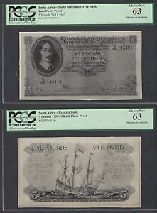 South Africa Face & Back 5 Pounds 29-11-1947  Photograph Proof Uncirculated