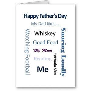 """Unique Generic Typographic """"My Dad Likes"""" Father's Day Card Gift"""
