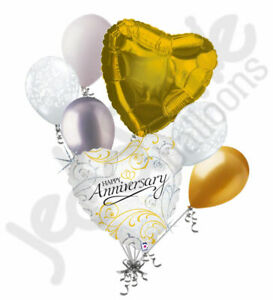 7 pc Gold & Silver Filigree Happy Anniversary Balloon Bouquet Party Decoration