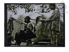 """Matted 8""""x6"""" Old Photograph Barber Braiding A Queue Qing Dynasty China 1900s"""