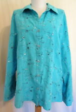 Sag Harbor TEAL green long sleeve button shirt embroidery L *FREE SHIPPING* Nice