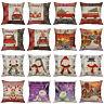 Christmas Series Pillow Case Cotton Linen Pillow Cushion Cover Throw Home Decor