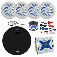 Amp / Receiver, 4 X 6.5'' Speakers, Amp, Amp Install Kit, 18G 50 FT Wire,Antenna