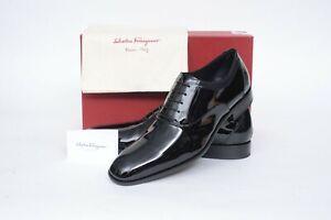 NIB Salvatore Ferragamo Aiden Black Patent Leather Plain-Toe Oxford Shoes 7.5 D