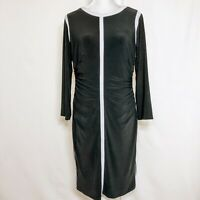 Lauren Ralph Lauren Size 14 Dress Black White Piping Long Sleeves Ruched Zipper