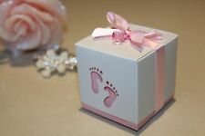 10 pk Baby girl- laser cut footprint party favour boxes