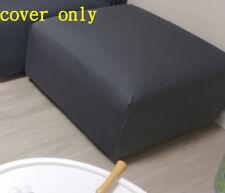 Ottoman Cover Sofa Stool Slipcover Protector Dark Grey Pure Color 90*90cm
