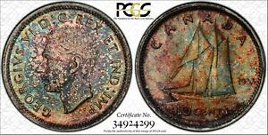 Toned 1937 Canada 10 Cents | PCGS MS63 | Silver George VI Dime