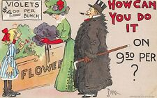 Dwig~How Can You Do It? Flower Seller~Violets $4 Bunch~Man in Big Fur Coat~1908