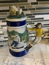 Lidded Ceramic Stein Women Downhill Skiing, Hummelston Pa By Cean & Carol Bloss