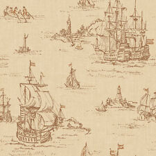 Distressed Clipper Ships Toile Wallpaper  ML1243  per Double Roll