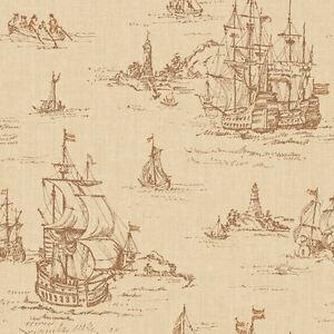 Distressed Clipper Ships Toile Wallpaper  ML1243  per Double Roll