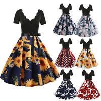 Women Short Sleeve Retro Print Vintage Flare Dress Spring Party Evening Dress L