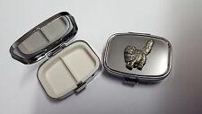 Persian Cat PP-C00 English Pewter Emblem on a Rectangular Travel Metal Pill Box