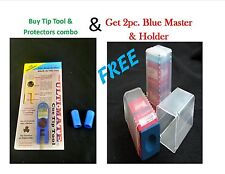 Pool Cue Tip Shaper Combo- Blue Ultimate Tip Tool & 2 Protectors + Master chalk