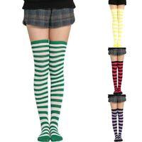 Girl Sheer Stockings Striped High Over Thigh The Knee Plus Socks Size Women's