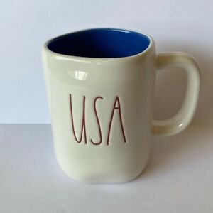 Rae Dunn By Magenta USA Red/White/Blue Large Letter 16oz Coffee/Tea Cup Mug