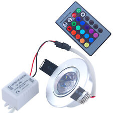 3W RGB LED Recessed Ceiling Light 6 Spotlight Downlight Lamp IR Remote Control