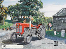 Massey Ferguson 65 Vintage Classic Farm Tractor Old Advert Large Metal Tin Sign