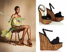 Charlotte Olympia Bamboo-Print Wedges with Ankle Strap Sz:38.5 NEW