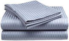 Queen Size Light Blue 400 Thread Count 100%Cotton Sateen Dobby Stripe Sheet Set