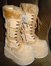 LOLITA Cosplay Knee High BOOTS JAPAN BNWOT Beige QUESTION MARK,Anime JPOP,SIZE 6