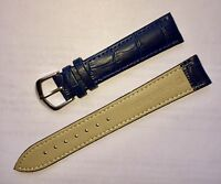 18MM GENUINE LEATHER DARK BLUE WATCH STRAP SILVER PLATED BUCKLE, UK SELLER