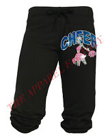 Junior's Rhinestone Cheerleader Cheer Black Capri Sweatpants Yoga Fitness Pants