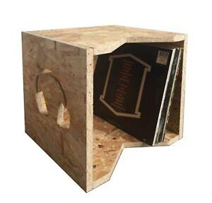 "Vinyl Record Storage Display Box Stores Up to 90 x 12"" LP's (Headphone Design)"