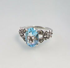 9927121 925 argent blautopas-marlasit-ring avec perles taille 56