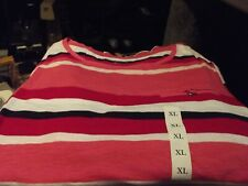 Croft & Barrow  Crew  Neck Red White Stripe  Short Sleeve Casual Top Size XL