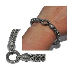 VICTORIA BIJOUX Bracelet grosse maille en acier inoxydable argenté 19cm