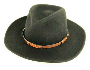 Serratelli Cowboy Hat Black Crushable 100% Wool Size Large