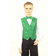 Kids Emerald Green Sequins Vest