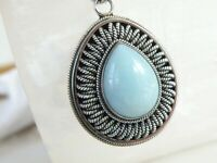 Suarti Bali Sterling Silver Large Heavy Milky Aquamarine Pendant Chain Necklace