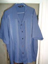 "DaVINCI 50's-60's ""High Life"" Blue/Grey+Silver Blue Stripes Camp Collar USA XXXL"