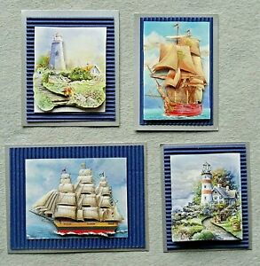 4 3D Handmade Card Toppers - Seascape