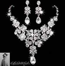 Bridal Wedding Crystal Gem Waterdrop Necklace Earrings Jewellery Set UK Seller