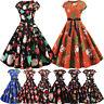 AU Women Vintage Short Sleeve Christmas 1950s Fashion Evening Party Prom Dress