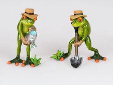 717092 Frosch Paar Gärtner hellgrün 15cm aus Kunststein mit witzigen Details