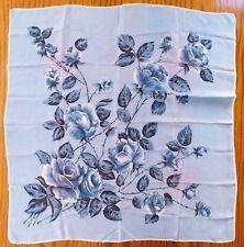 "Vintage floral head scarf blue roses hand rolled hem flowers 30"" square f"