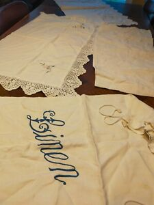 Vintage linen - embroidered pillow and bolster cases and linen bag