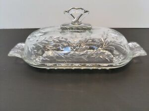 Vintage Crystal Clear Covered Butter Dish Cut Pattern with Glass Lid Knob Handle