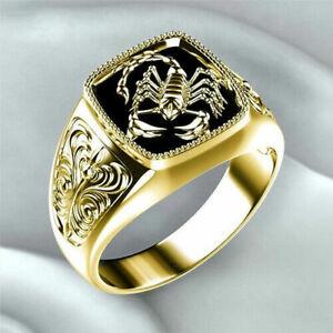 Men Fashion 18K Gold Scorpion Ring Retro Black Enamel Creative Punk Jewelry Gift