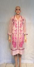 Vtg 1970s Signed ALFRED SHAHEEN - Hand Printed FLORAL Short Shirt Waist Dress