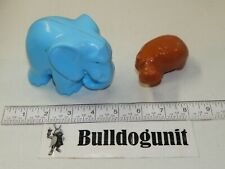Vintage Blue Elephant & Brown Hippo Animal Parts Only Fisher Price Zoo